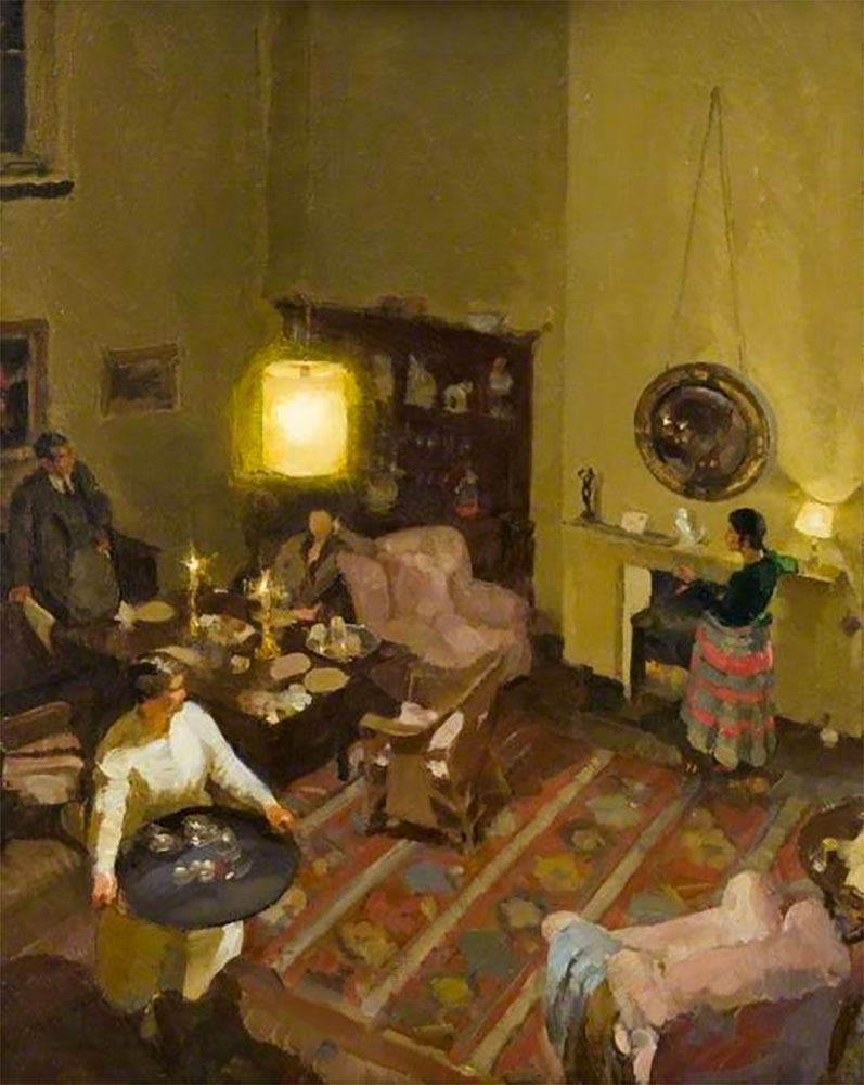Painting by Amy Katherine Browning, 1930, Interior: Studio Supper, oil on board, The Burrell Collection