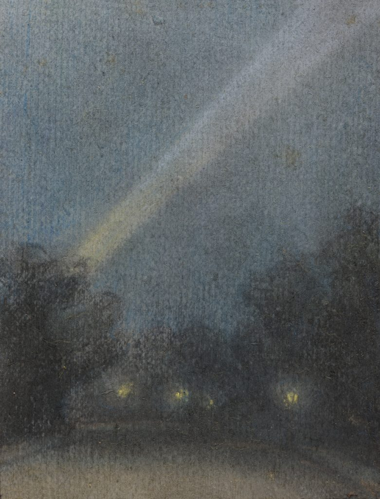 Searchlights from a series of 77 pastels of WW1, pastels on paper, 1914-18