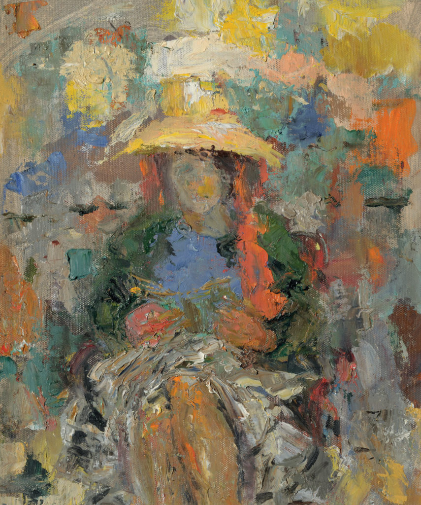 Connie Winn, c. 1973, Girl in a Yellow Hat, oil on panel, 36x30cm