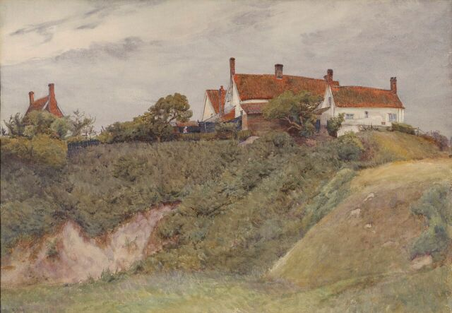 A watercolour by Eleanor Every, 1936 titled Claydon Pit with cuttings Watercolour, 37x53xcm