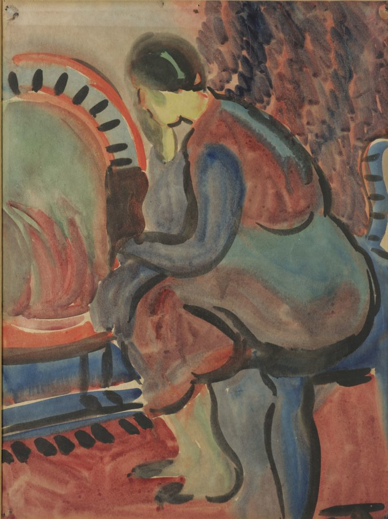 Kathleen Walne, Girl Sitting by Fire, watercolour, 35x26cm, 1930's